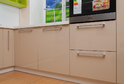Кухня пластик белый + бежевый глянец в кромке ABS