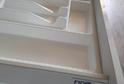 Кухня пластик золотой вяз + белый глянец  в кромке ABS