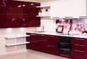 Кухня Rehau белый + бордо глянец