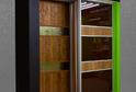 Дверь-купе пленка ПВХ коричневые цветы + зеркало узор